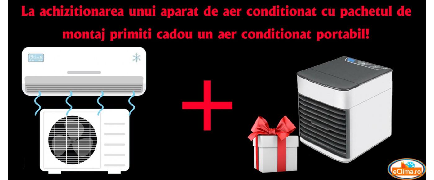 Cadou! La achizitionarea unui aparat de aer conditionat cu pachetul de montaj primiti cadou un aer conditionat portabil!