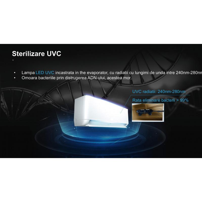 Aer conditionat Platinium- PwiFi-09BION++UV Inverter, A++,9000 btu ,Wifi inclus ,Sterilizare prin UVC ,Ionizator Bipolar